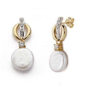 Pendientes oro 9 kilates semi largos perla plana circonitas cierre presión 9K-18155