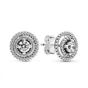 Pendientes plata Pandora desmontables redondos circonitas 299411C01