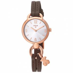 Reloj Tous Hold correa cuero marrón caja y osito colgante rosado 000351455