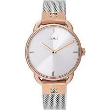 Reloj Tous mujer Let Mesh bicolor rosado malla plateada 000351490