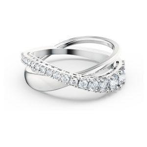 Swarovski Anillo Twist Rows cristales blancos baño de rodio talla 60 5572710