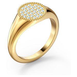 Anillo sello Ginger Swarovski dorado con cristales blancos talla 52 5572694
