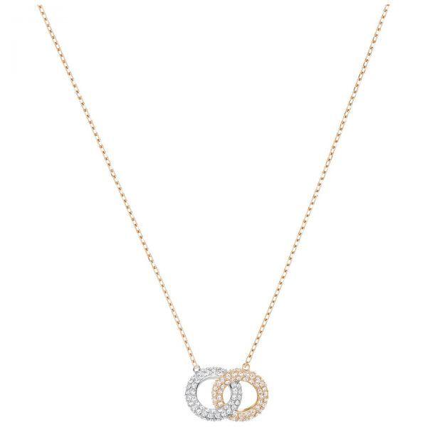 Collar STONE Swarovski circulos rodiado y rosado entrelazados cristales blancos 5414999