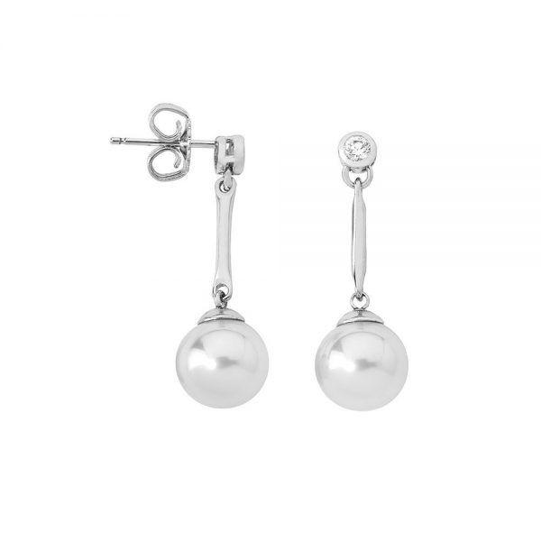 Pendientes plata Majorica Meissa largos barra perla 10mm 12860.01.2.000.010.1