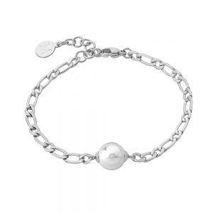 Pulsera Majorica Nuada cadena acero 1x1 perla central 15361.01.0.000.010.1