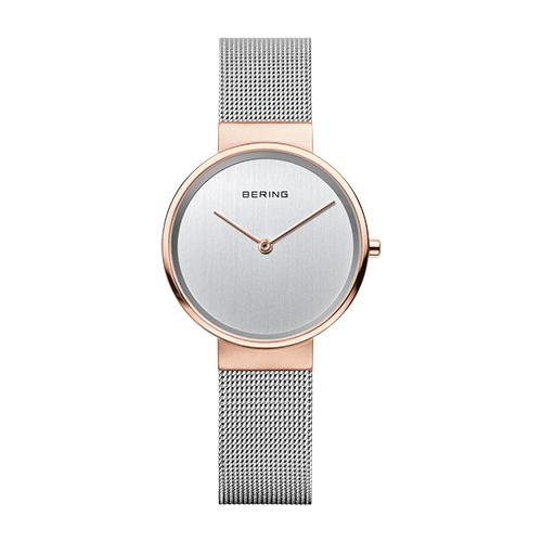 Reloj Bering CLASSIC caja de 31mm rosada correa malla plateada 14531-060