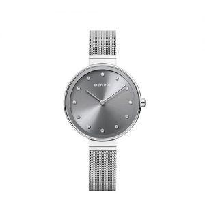 Reloj Bering corra malla de acero y esfera gris de 34 mm con cristales SWAROVSKI 12034-009