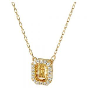 Collar Milienia Swarovski dorado con colgante cuadrado y borde de cristales blancos cristal central ambar 5598421