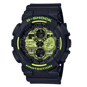 Reloj Casio G-Shock negro y fondo amarillo fosforesecente anadigi GA-140DC-1AER