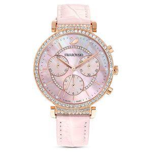 Reloj Passage Swarovski cronografo correa piel rosa, esfera pvd rosada esfera 36 mm 5580352