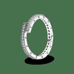Anillo plata Pandora cruzado superpuesto con cironitas cubicas transparentes talla 54 199491C01-54