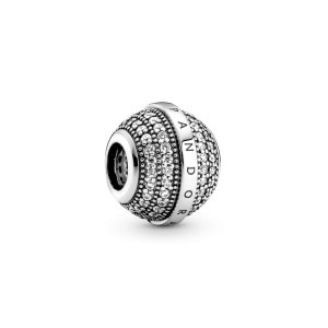 Charm plata redondo Pandora pave circonitas logo 799489C01