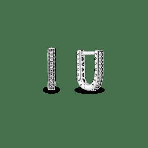Pendientes plata Pandora en forma de u con circonitas cubicas transparentes 299488C01