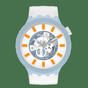 Reloj Swatch big bold blite blanco, naranja y azul SB03N101